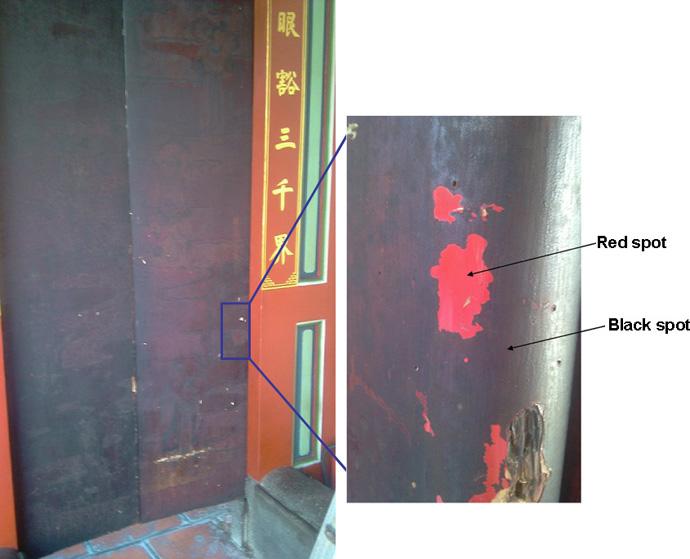 この寺院の扉の分析には、拡散反射サンプリングアクセサリを搭載したハンドヘルド型 FTIR 分光光度計 Agilent 4100 ExoScan FTIRを使用しました。