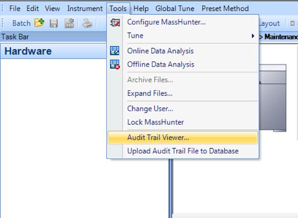 MassHunter UAC ソフトウェアでは、監査証跡でユーザーアクションが記録されるため、完全なトレーサビリティが保たれ、検証が容易になります。