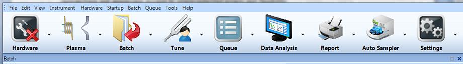 ICP-MS MassHunter 4.1 tool bar.